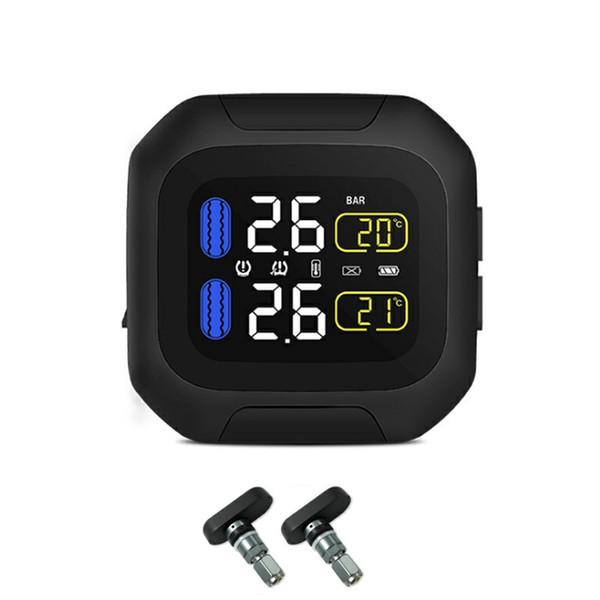 Sistema de alarma de carga USB TPMS impermeable universal con 2 Herramienta motocicleta Wireless Sensor de reemplazo para monitor de presión de los neumáticos