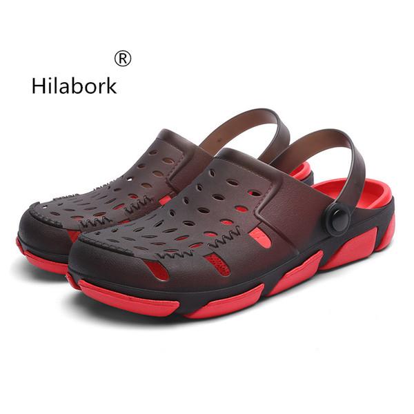 Zapatillas Hilabork Hole para hombre 2019 nuevas zapatillas de ropa de verano antideslizantes de fondo suave tendencia de cabeza redonda sandalias casuales de cuero zapato de playa