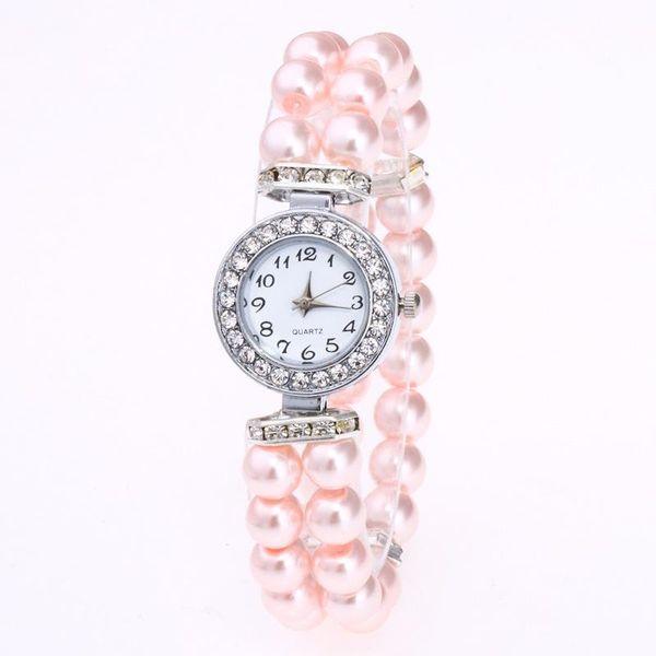 Orologi da polso per le donne eleganti moda imitazione perle cinturino elastico orologi 2019 brand new casual strass orologi al quarzo LW015