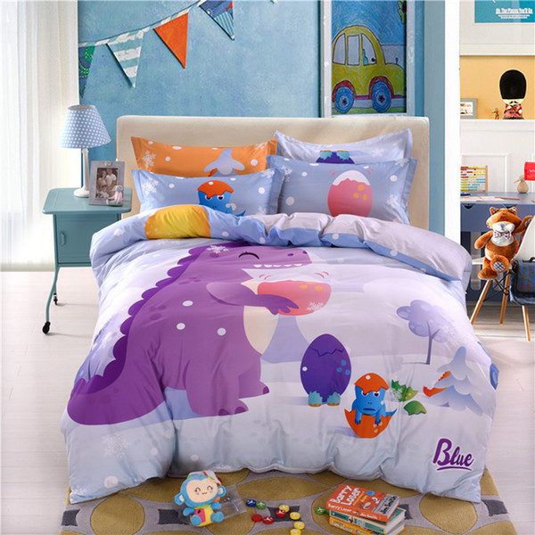 Small Dinosaur Animation Bedding Sets Children Bed Sheet Quilt Set Kids Cartoon Style Cotton Bedding Four Sets RRA715