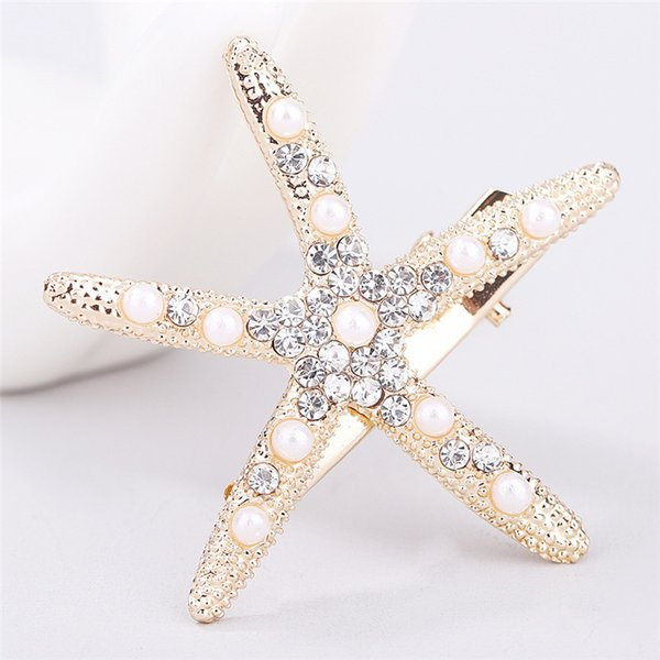 20PCS/Fashion Full Crystal Pearl Starfish Hairpin Hair Barrettes Accessories Large Rhinestone Hair Clips Headwear For Women Girls