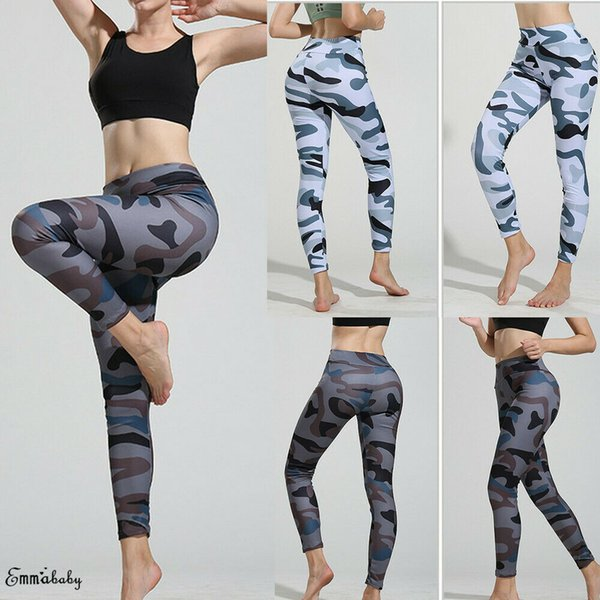 2019 women camo cargo yoga pants ladies stretch skinny casual army camouflage trousers yoga pants thumbnail