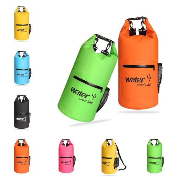Simple 20L Waterproof Dry Backpack Bag Lightweight Portable Storage Bags Front Zippered Pocket For Camping Kayaking Swimming Boating M234Y