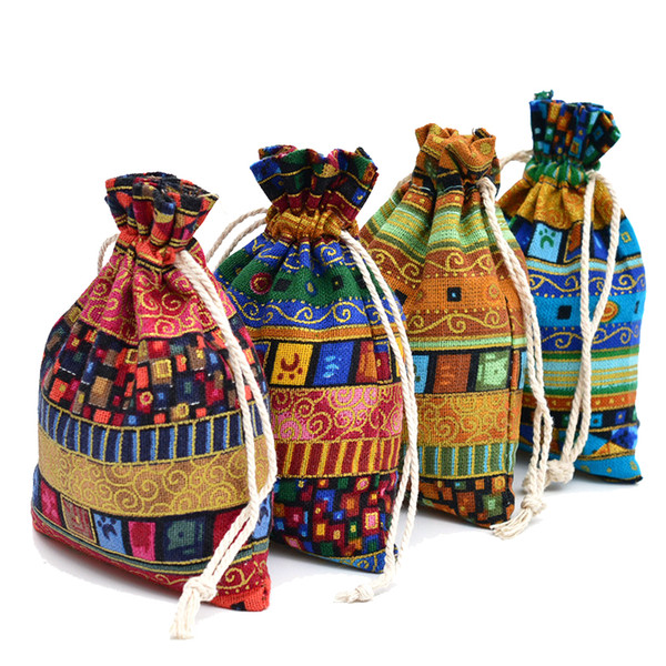 100pcs Jute Gift Bag 13x18cm Egypt and India Mysterious Style Tassel Jewelry Gift Candy Bags For Wedding Favors Home Decoration