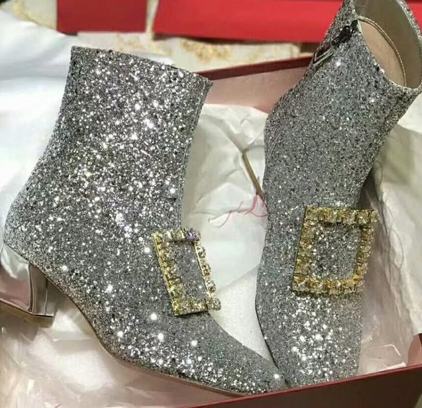 2019 autumn womens BLING BLING Shiny Silver Glitter black suede REAL Leather Rhinestones buckle strap Square Toes zip up short ankle BOOTS