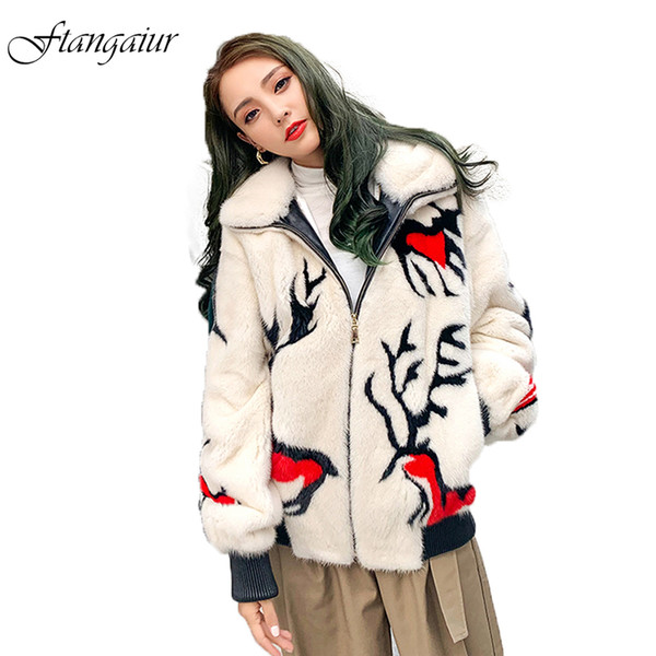 ftangaiur 2019 winter import velvet coat with hood print cartoon pattern mink coat women's short real coats