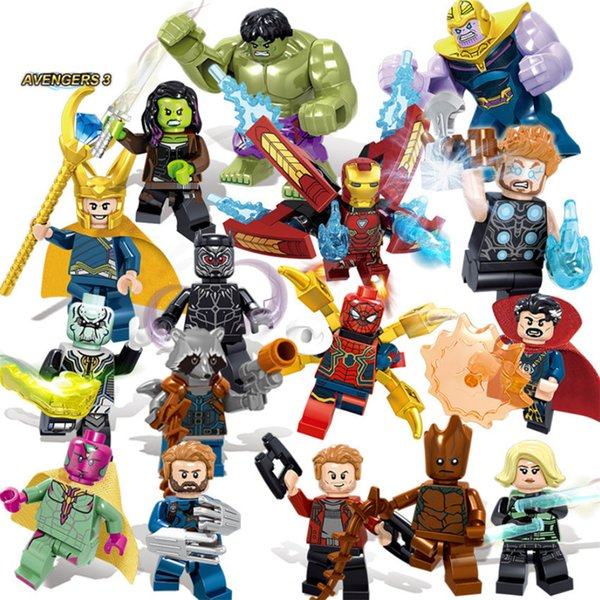 16pcs Super Heroes Bricks Avengers Marvel Building Blocks Infinity War Iron Man Thanos Thor Black Panther Hulk Loki Figures ToysMX190820