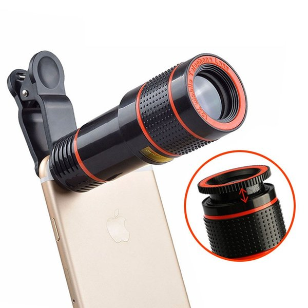 Clip-on 12x Optical Zoom HD Telescope Flexible Adjustable Camera Lens For iPhone/Samsung/Xiaomi Universal Mobile Phone EEMIA