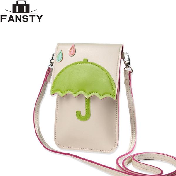 2016 New Fashion Summer Women Messenger Bags Ladies Cat Umbrella Shoulder Bag Cartoon Touch Screen Mobile Designer Crossbody Bag