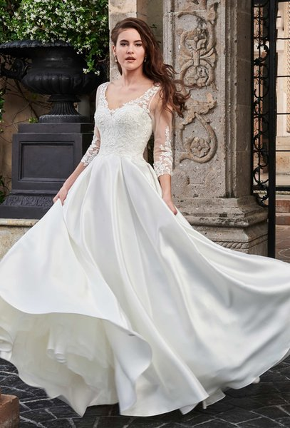 Beauty Ivory V-Neck Applique 3/4 Sleeves A-Line Wedding Dresses Bridal Pageant Dresses Wedding Attire Dresses Custom Size 2-16 KF1125162