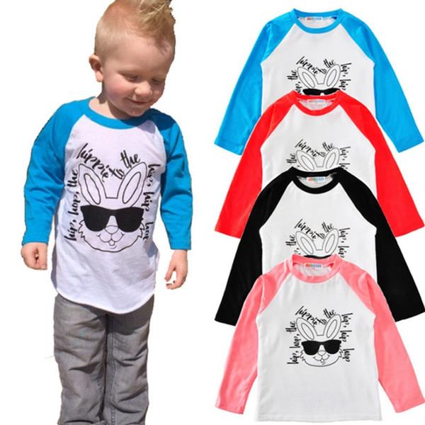 Easter Camisa Do Bebê Hip Hop Coelho Impresso Crianças Camisetas de Manga Longa Raglan Camisas Baby Boy Tops Roupas Meninas 4 Projetos YW2023