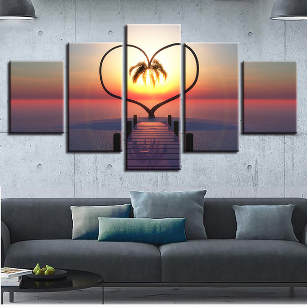 Canvas Printed Pictures Home Decor Frame 5 Pieces Ocean Hearts Tree Paintings Sunrise Bridge Landscape Poster Modular Wall Art