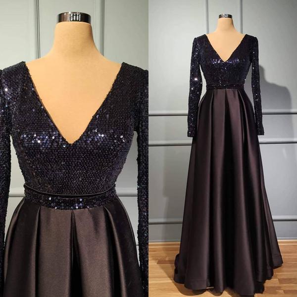 Vintage Black V Neck A Line Prom Evening Dresses Sequins Satin Long Sleeves Party Gowns Custom Made Evening Dresses Graduation Dresses