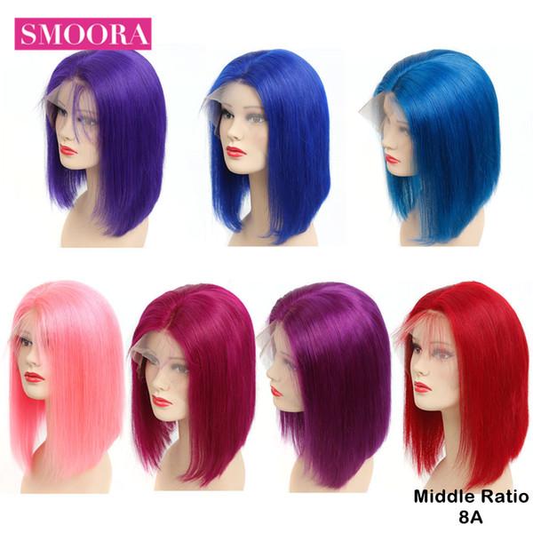 Glueless Полный Шнурок Человеческих Волос Парики Бразильские Прямые Волосы Красный Розовый Синий Фиолетовый Цвет Парики Шнурка Для Женщин Реми 150% Плотность