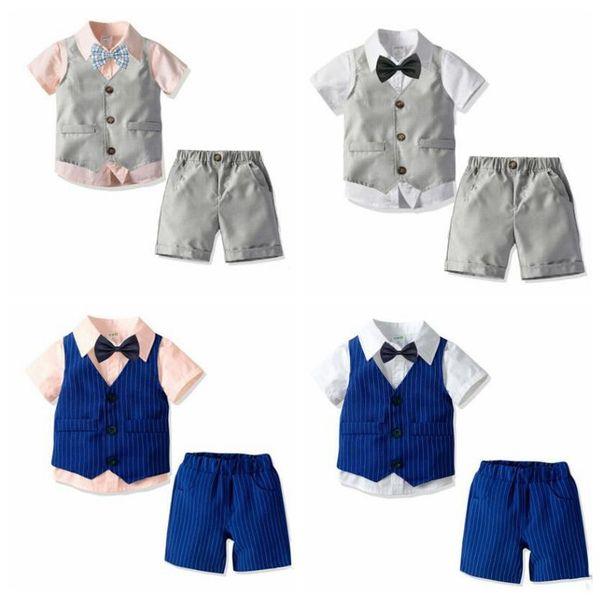 Enfants Garçons Designer Vêtements Enfant En Bas Âge À Rayures Gilet Rayé Short Chemise Cravate Solide Costume Enfants Vêtements De Designer pour 1-6T LT1489