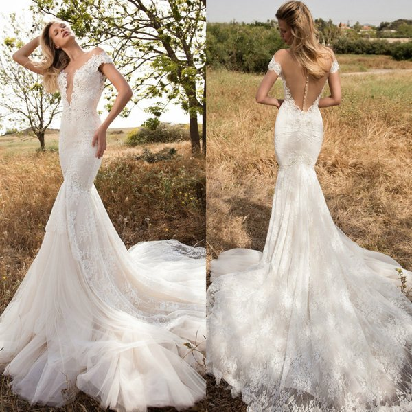 2019 Gorgeous Mermaid Lace Wedding Dresses 2019 New Berta Sheer Neck Short Sleeve Appliqued Bridal Gowns Country Bohemian Wedding Dress