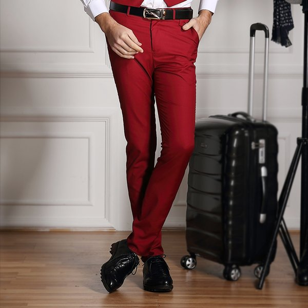 2019 Dress Pants Men Pure Color Red/White Formal Business Suit Pants Trousers Formal for Wedding