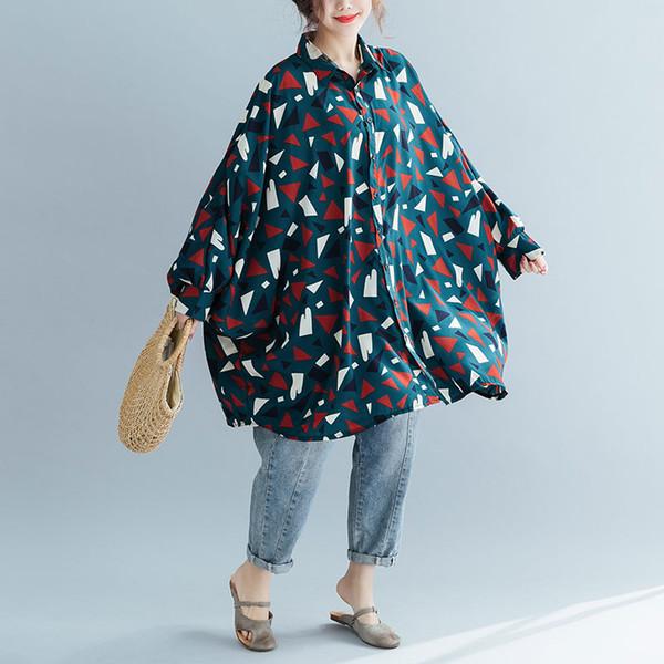 Beiläufige Laterne-Hülsen-Blusen für Frauen-geometrisches Muster-Oberseiten-weibliche regelmäßige Frauen-Oberseiten und Blusen Kontrastdamenoberteile