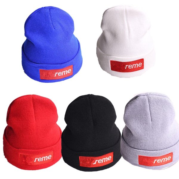 top popular Candy Color Spu Red Logo Beanie Hats Women Men Designer Knit Beanies Embroidery Letters Warm Crochet Cap Outdoor Sport Beanies Ski Hat C9304 2019