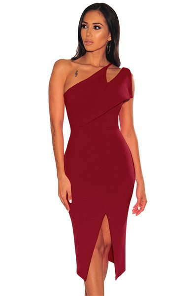Split One-Shoulder Women Party Dresses Sexy Ladies Panelled Pencil Dresses Designer Skinny Hollow Out Bodycon Dresses