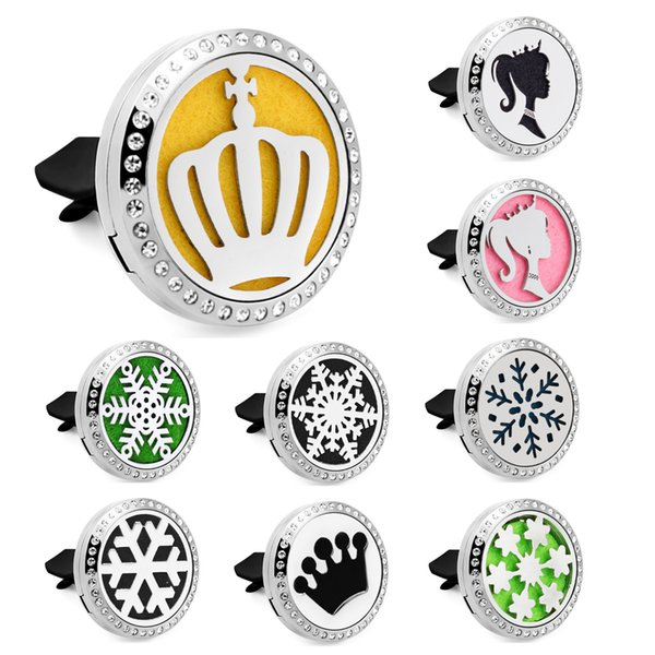 Crown princess snowflake Car Perfume Locket Vent Clip 316L Stainless Steel Rhinestone bling 30mm Magnetic Car Diffuser Locket 10pcs Pads