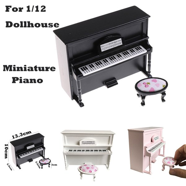 Miniature Wooden Black Upright Piano Mini Doll Scale Model for 1/12 Dollhouse Mini Doll House Accessories Kit F3