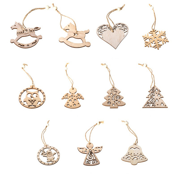 3Pcs Christmas Vintage Wooden Crafts Pendants Hanging Ornaments Gift Tag With Hanging Rope Christmas Decorative