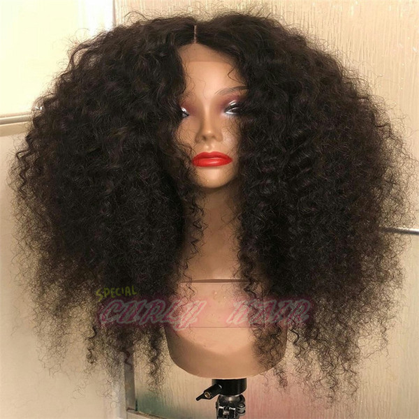 Virgin Brazilian Afro Kinky Curly Wig Glueless Full Lace 130% Density Kinky Curly Wig Human Hair Lace Front Wig For Black Women
