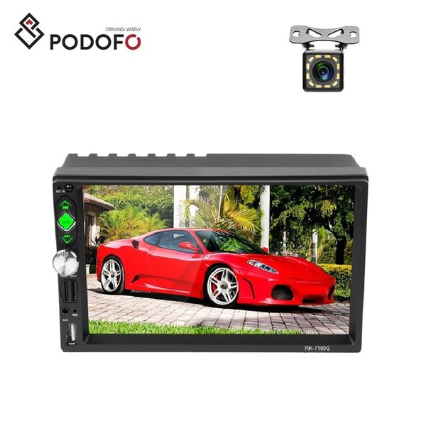 Podofo 2 din Car Radio Car DVD Stereo GPS Navigation 7'' Touch Screen MP5 Player Android IOS Mirror Link + 12 LED Camera