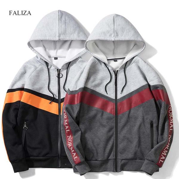 FALIZA мужские толстовки с капюшоном из флиса Толстовки мужские на молнии с капюшоном Повседневные кофты для мужчин Хип-хоп пуловер Streetwear WY23