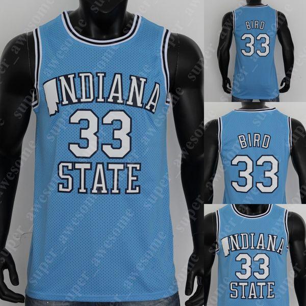 best selling NCAA 33 Larry Bird ISU Indiana State College Jersey ISU College Basketball Jerseys Blue