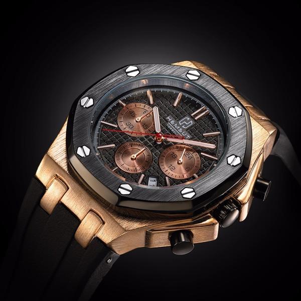 Brand New Men Watch Quartz Watch Gold Rubber Band 3atm Water Resistant Chronograph Mens Quartz Wrist Watch Y19051503