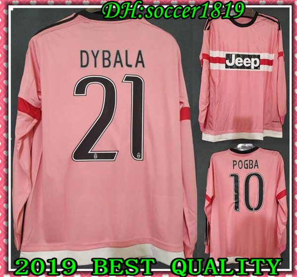 big sale 37798 c1745 2019 2016 Long Sleeve Italy POGBA SOCCER JERSEYS 15 16 DYBALA MANEZUKIC  MORATA HIGUAIN MARCHISIO Pink Futbol Camisetas Football Camisa Shirt Kit  From ...