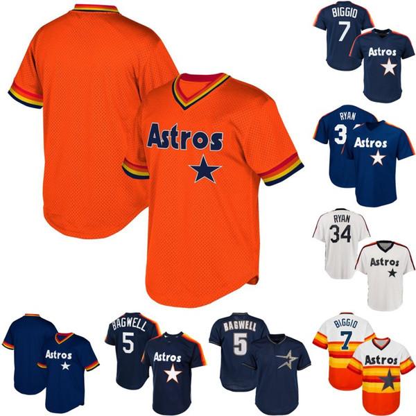 Houston 5 Jeff Bagwell 7 Craig Biggio 34 Nolan Ryan Mens Womens Jugend Astros Retro Baseball-Trikots S-XXXL