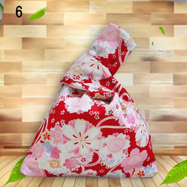 Femmes motif imprimé Sac poignet manches noeud poche filles portable Sac fourre-tout C55