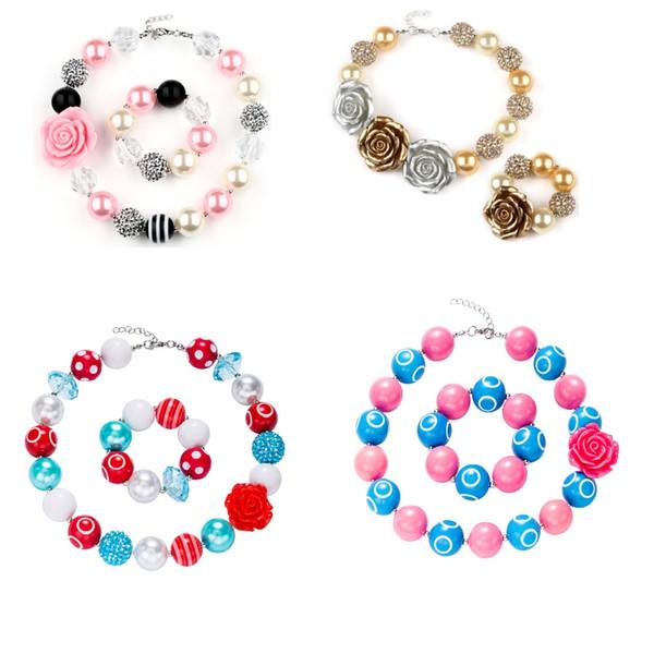 9 Modèles Bébé Fille Pendentif Chunky Perle Collier Bracelet Ensemble Fleurs Diamant Rose Bubblegum Toddler Partie Bijoux