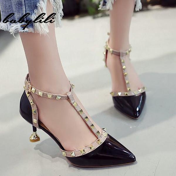 Fivela de salto alto mulheres sapatos rebites apontou toe mulheres sandálias confortável salto médio verão outono saltos de casamento fivela