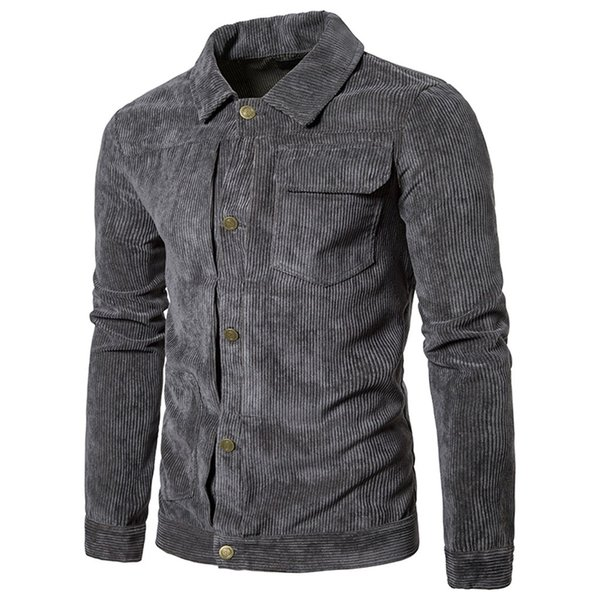 kancoold shirt regular men's shirts men's casual winter long sleeve asymmetrical pocket corduroy lapel slim coat nov11