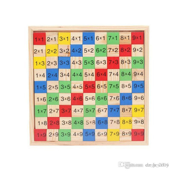 2018 Multiplication Table Math Toy 9x9 Double Side Pattern Printed Board Colorful Wooden Figure Block Kids Educational Toy