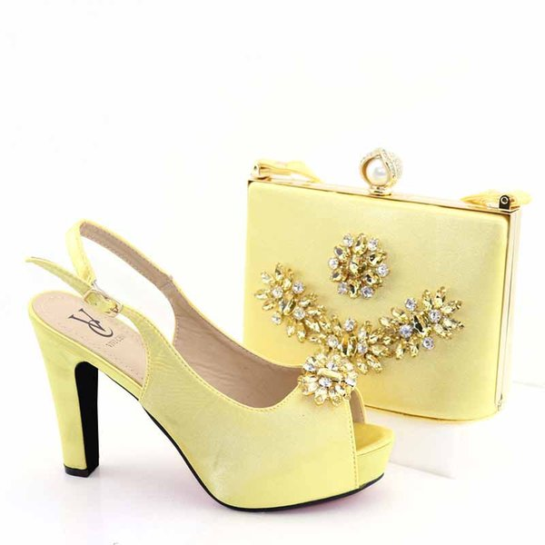2019 New African Fashion Italian Lady Shoe and Bag set Wholesale Gold Color for Wedding Shoes and Matching Purse for Women Party