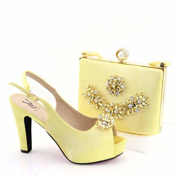 2019 New African Fashion Italian Lady Scarpa e borsa set colore oro all'ingrosso per scarpe da sposa e borsa abbinabile per la festa delle donne