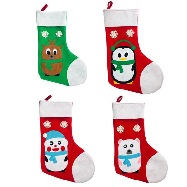 Главная Большой объем партии Торговый центр Вышитая сумка Висячие рождественские чулки Детские носки мешок подарка спанбонда