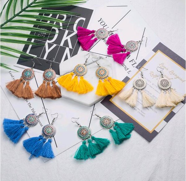 best selling 2019 ethnic wind plant sunflower tassel earrings geometric women retro fan-shaped pendant wedding party bride tassel jewelry gift