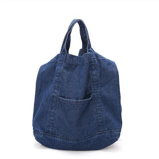borse all'ingrosso del denim delle donne borsa di messaggero della borsa di acquisto della spalla di grande capacità di nuova moda di modo aprono le borse casuali di arte di Tote casuale