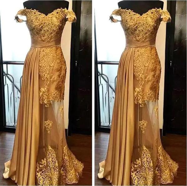 2019 Schulterfrei Lange Abendkleider Arabisch Golden Tüll Applique Geraffte Perlen Bodenlangen Festzug Formelle Party Kleider Abendkleider
