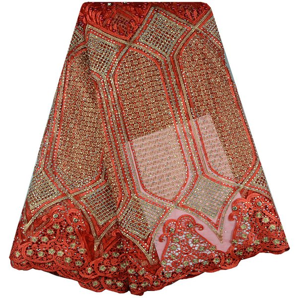 Red Color African French Lace Fabric High Quality African Tulle Lace Fabric For Wedding African Guipure Lace Fabric With Stones