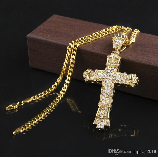 Vintage Cross Pendant Necklace Mens Gold Cuban Link Chain Necklace Iced Out Pendant Hip Hop Jewelry