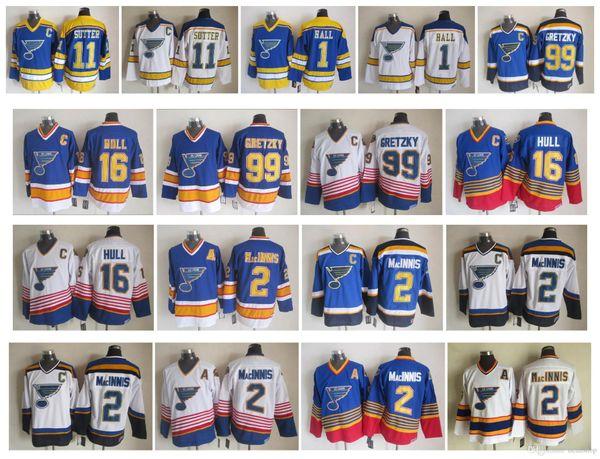 Vintage St. Louis Blues Jersey 1 Glenn Hall 2 Macinnis Al 11 Sutter Brian 99 Wayne Gretzky 16 Brett Casco 77 Pierre Turgeon CCM Hockey