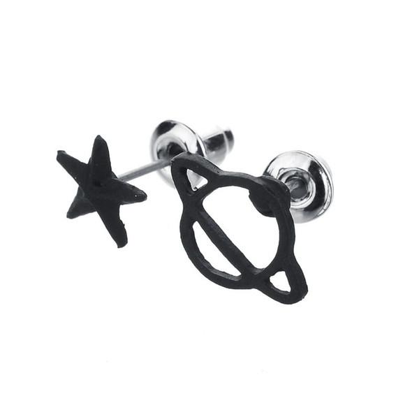 Black Gun Plated Star&Saturn Stud Earrings Set for Women Cute Space Piercing Fashion Earring Bijoux Jewelry Accessories E976