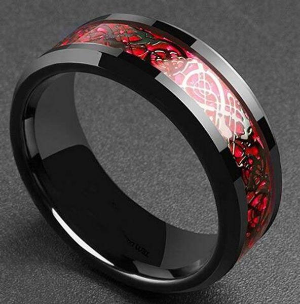 Herrschender Mann Ring Rot Grün Kohlefaser Schwarz Drachen Inlay Comfort Fit Edelstahlringe für Männer Ehering Ring
